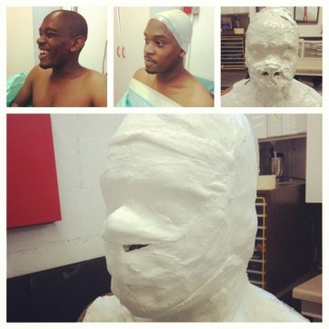 Casting for a mold of Aml's face